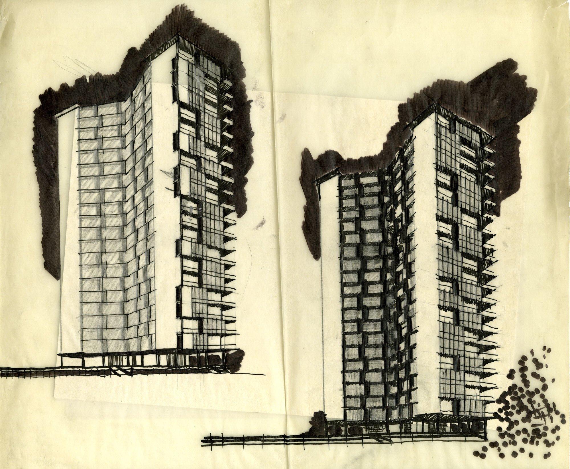 Studien zum Torre al Parco Sempione in Mailand. Foto/ Copyright: Archivio Vico Magistretti