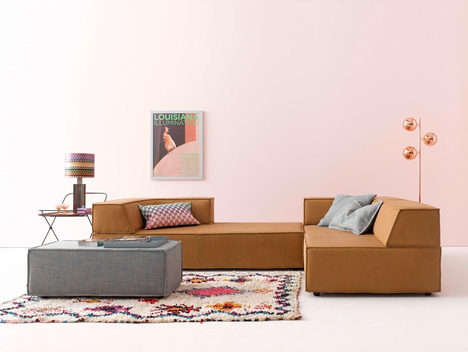 Der Trio-Baukasten besteht aus drei Teilen: Sitzelement, Rücken- und Ecklehne.
