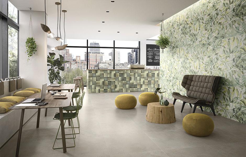 Mit der Kollektion Urban Jungle bringt Villeroy & Boch Fliesen die Natur in Bad und Wohnzimmer, gut kombinierbar mit Beton, Terrazzo und Naturtönen.