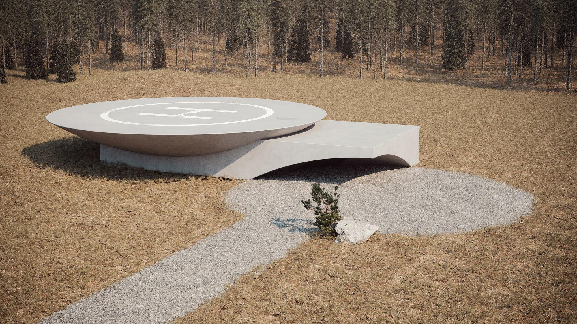 Das Gebäude ist durch drei Eingänge zugänglich und hat außerdem einen Hubschrauberlandeplatz. Darstellung: Sergey Makhno Architects