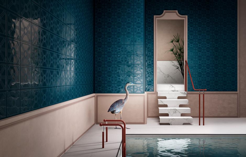 Fliesenstrukturen aus Feinsteinzeug mit Stilmerkmalen aus dem Art Déco wie bei Dekorami des italienischen Unternehmens Ceramica Vogue ermöglichen eine besonders ausdruckvolle Wandgestaltung. Foto: Ceramica Vogue