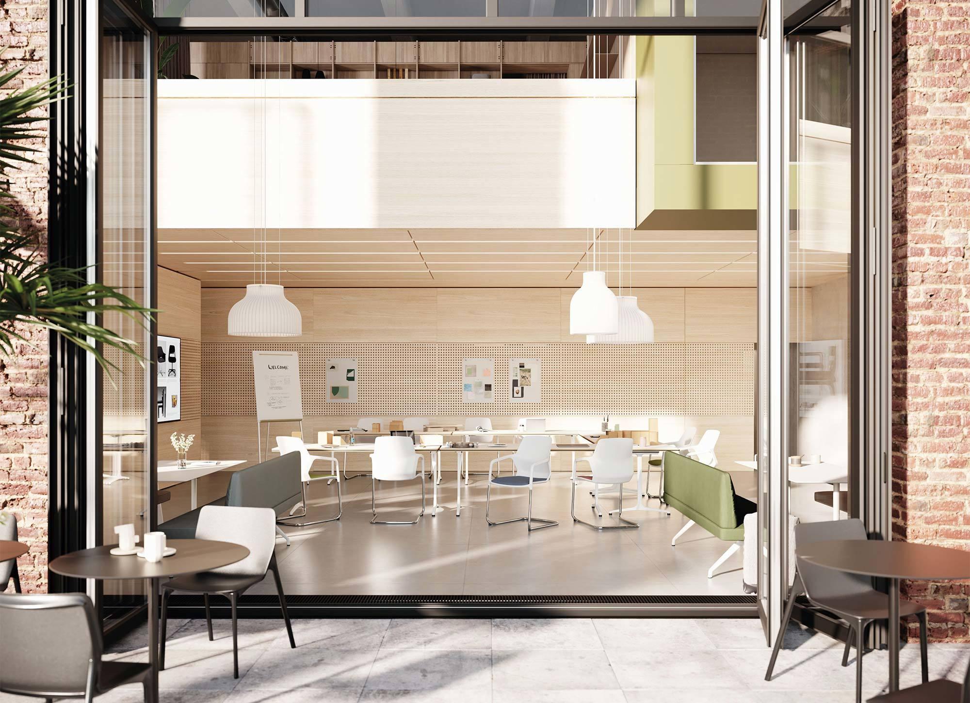 Beim Konzept des Human Centered Workspace öffnet sich das Erdgeschoss mit öffentlichen und halböffentlichen Nutzungen.