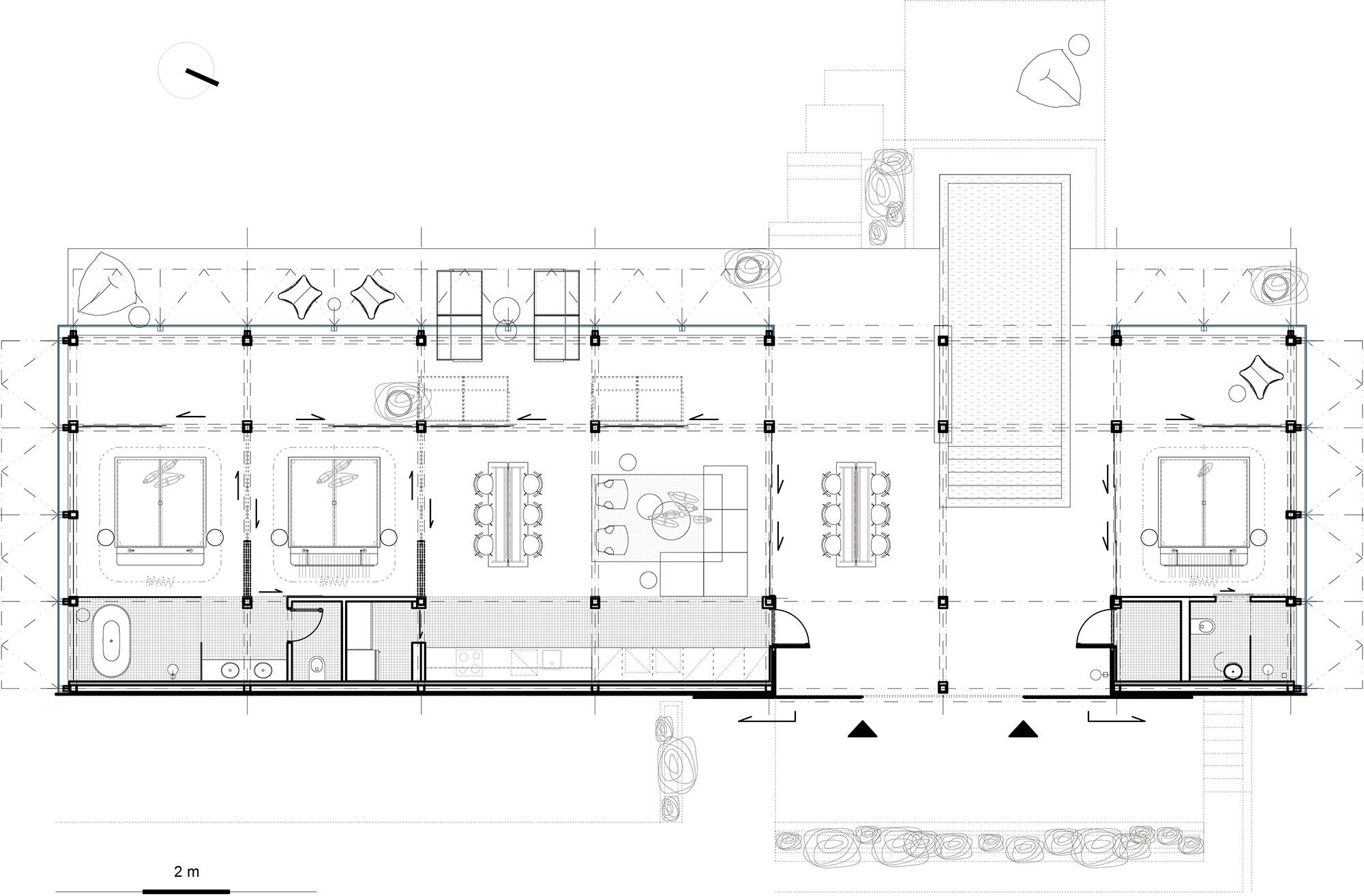 Der Grundriss der Atelier Villa, der ohne Flure auskommt und die Funktionsbereiche nebeneinander aufreiht.