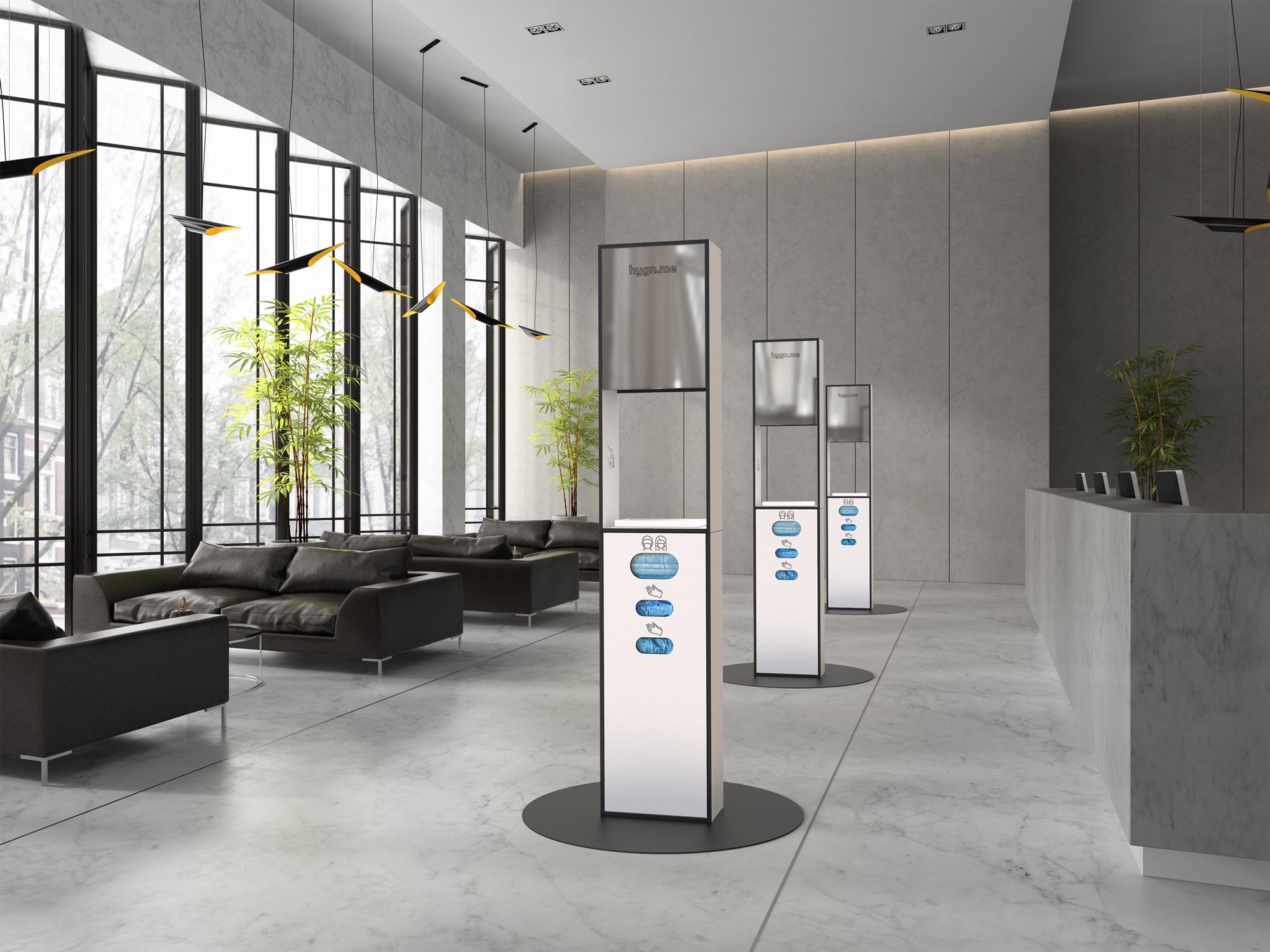 Das junge Label hygn.me bietet Lösungen, um Stationen mit Desinfikationsmittel in Büroumgebungen zu integrieren.