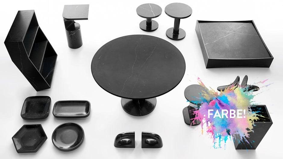 Kollektion Just Black(2013) von Marsotto. Möbel und Objekte aus schwarzem Marmor von Jasper Morrison, James Irvine, Konstantin Grcic u.a.