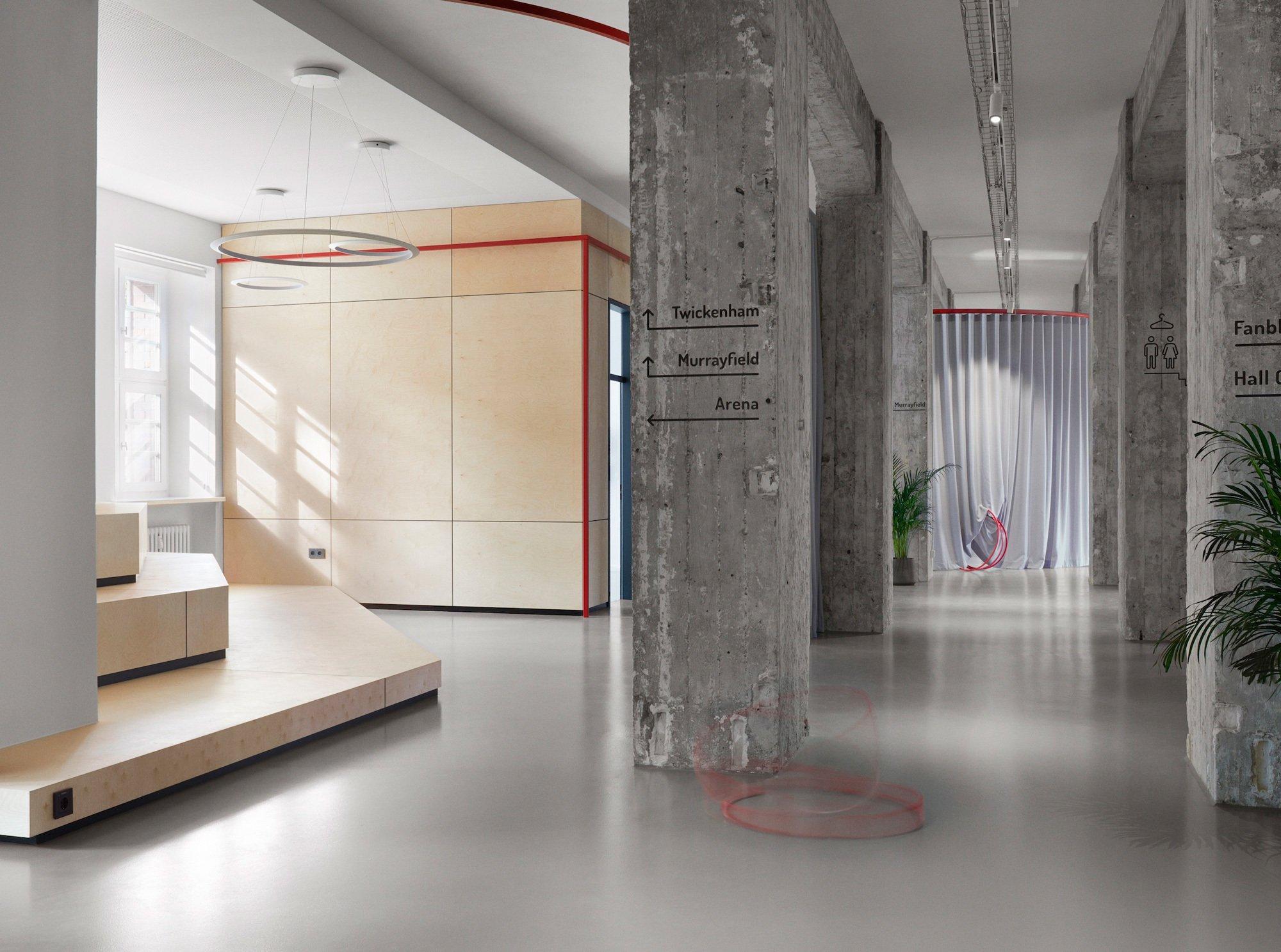 LXSY Architekten verwandelten eine alte Berliner Postfiliale in einen spielerischen Co-Working-Space als Kombination aus Theaterbühne und Turnhalle.