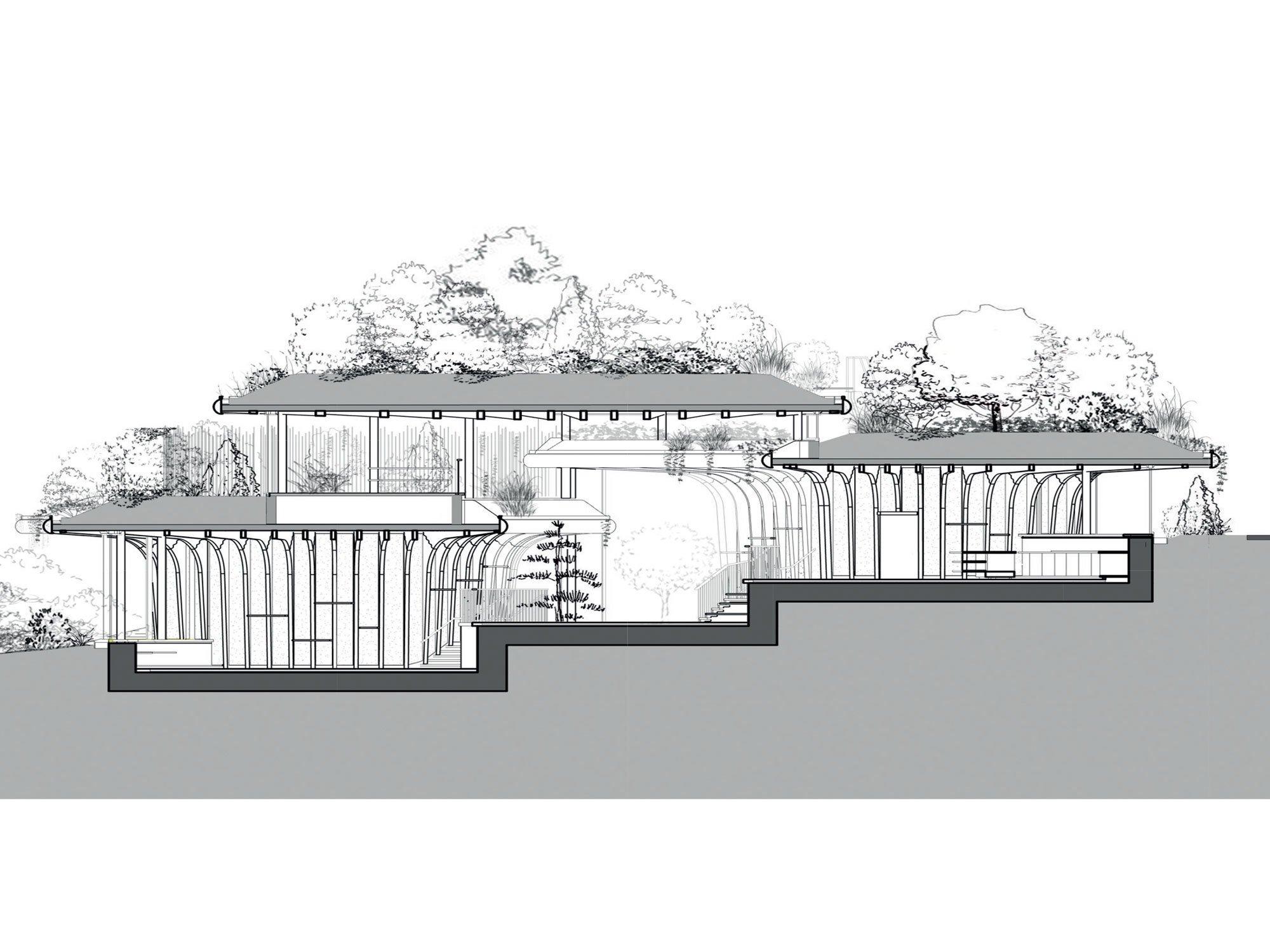 """""""Das Gefälle würde typischerweise dazu ermutigen, das Gebäude einzugraben. Stattdessen haben wir entschieden, den ansteigenden Konturen des Baugrundes zu folgen"""", erklärt Thomas Heatherwick."""