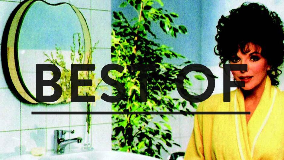 Gruselkabinett Achtziger: Joan Collins macht Werbung für den amerikanischen Sanitärhersteller Ideal Standard im gelben Bademantel.