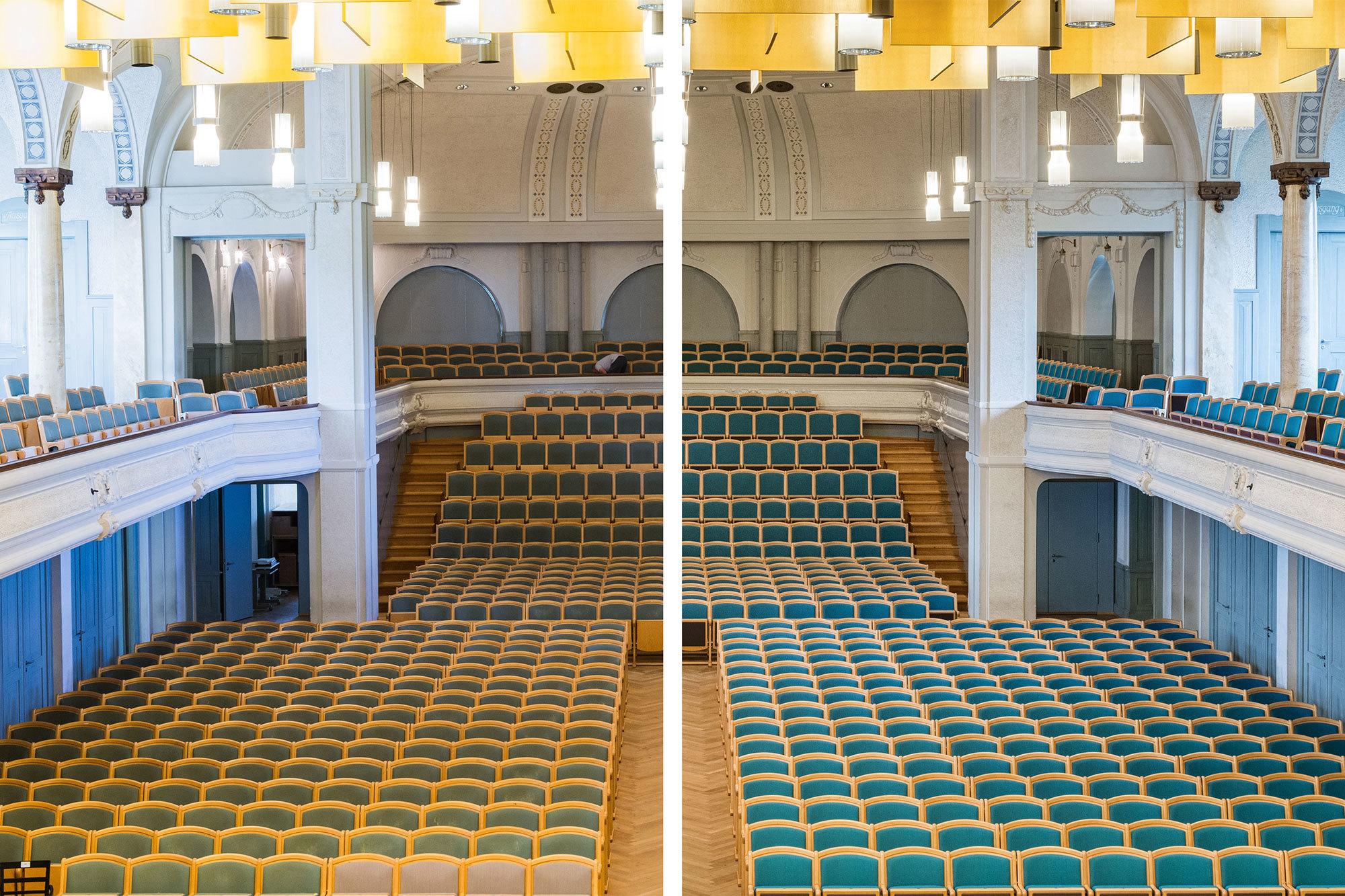 Vorher-nachher-Effekt, Tonhalle St. Gallen. Aufarbeitung der Bestuhlung durch Girsberger Remanufacturing.