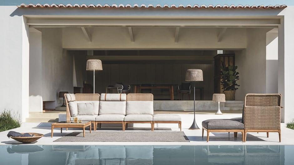 Möbelserie Lima und Leuchtenserie Ambient Mesh vonHenrik Pedersen für Gloster. Foto Gloster