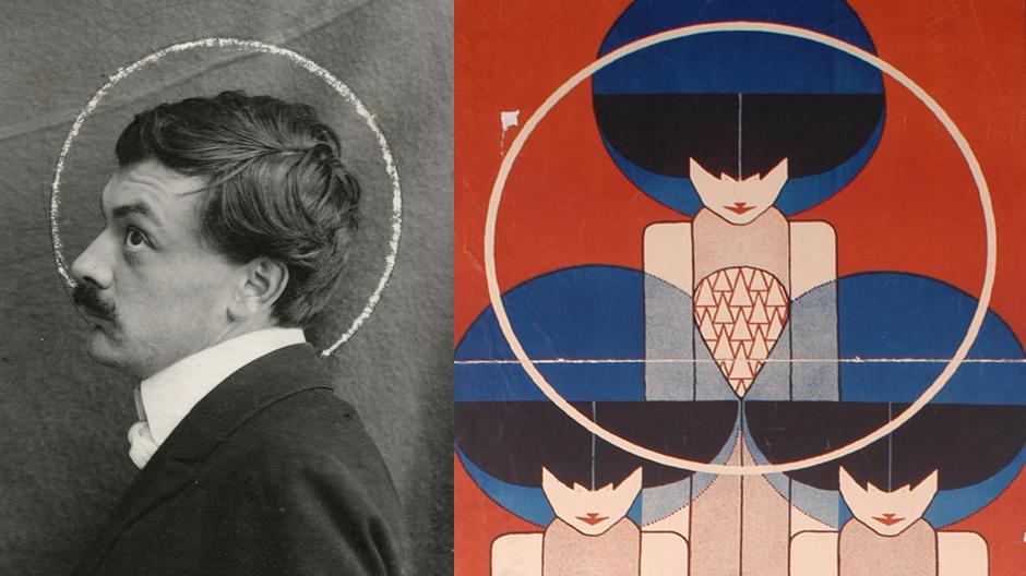 Links: Anonym, Porträtfotografie Koloman Moser, um 1903 © MAK. Rechts: Koloman Moser, Plakat für die XIII. Secessionsausstellung, 1902 © MAK