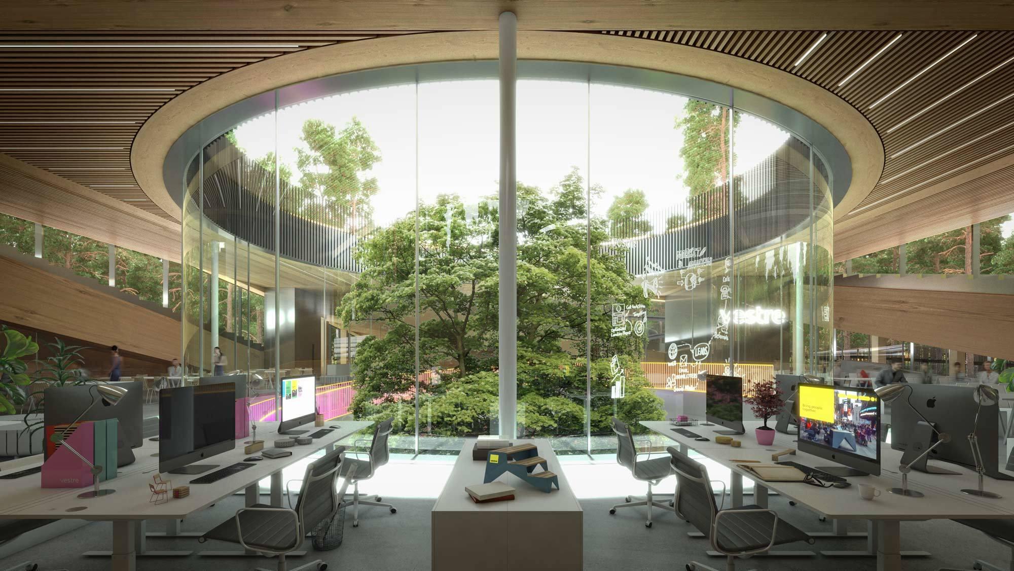 The Plus, die Produktionsstätte des norwegischen Herstellers Vestre soll die umweltfreundlichste Möbelfabrik der Welt werden. Darstellung: Vestre/BIG