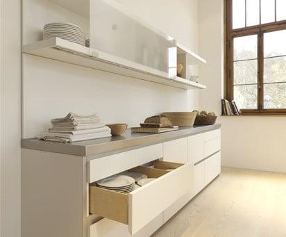 Eine formreduzierte, funktionale Küche des deutschen Herstellers