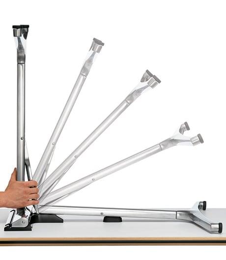 Wilkhahns platzsparendes, klappbares Tischsystem