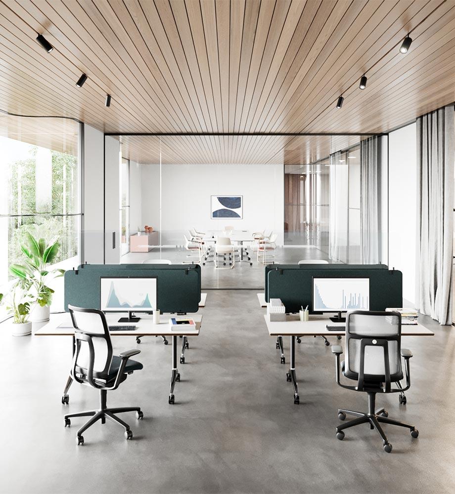 Akustisch und visuell abgeschirmtes Paneel für Tischfamilie Timetable von Wilkhahn