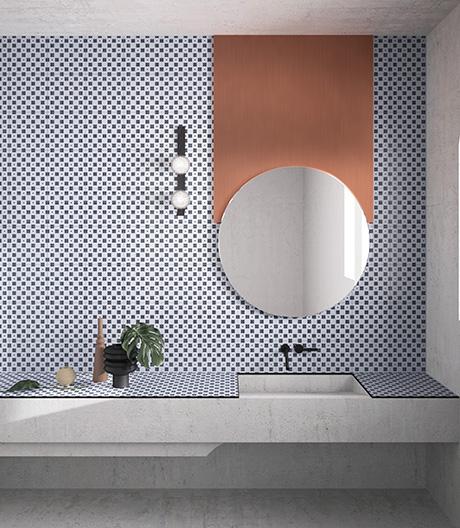 Fliesenkollektion mit geometrischen Mustern von Mercante-Testa und Ceramica Vogue