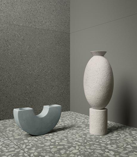 Minimalistische Ästhetik von Beton und Terrazzo in Fliesenformat von VitrA
