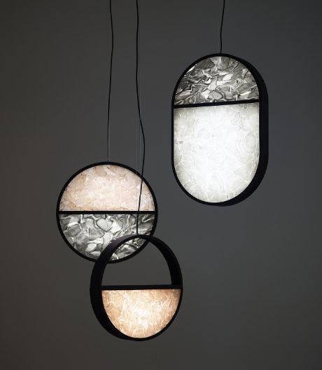 In der Kollektion von Boris Klimek und Lenka Damová erhalten Leuchten einen geometrischen Rahmen.