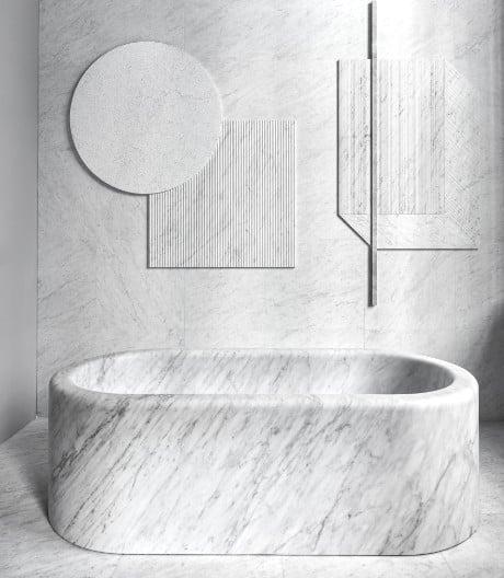 Jenseits der funktionalen Nasszelle: unsere fünf Materialfavoriten im Bad.