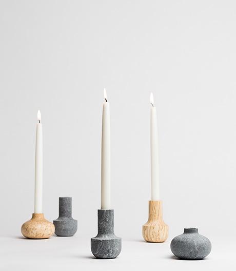 Heimatliche Kerzenhalter: Katriina Nuutinen bringt nordische Landschaft auf den Tisch.