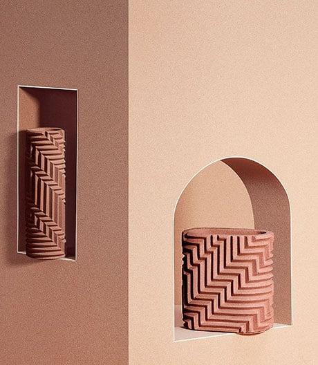 Selbst gestaltet und gefaltet: Origami-Vasen von Phil Cuttance.